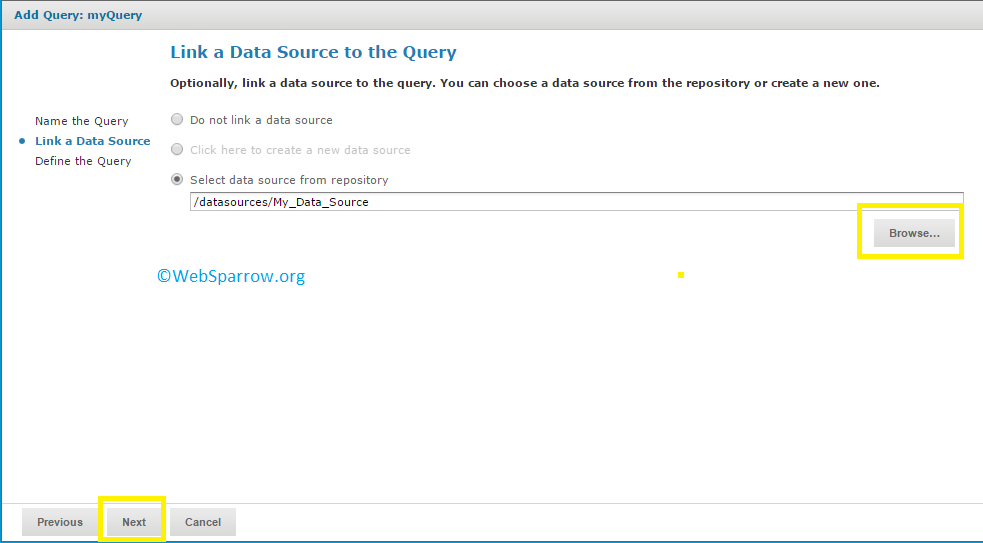 How to define query in JasperReports Server