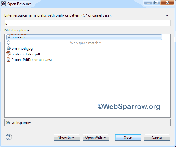 How to search Java, JSP file in Eclipse IDE?