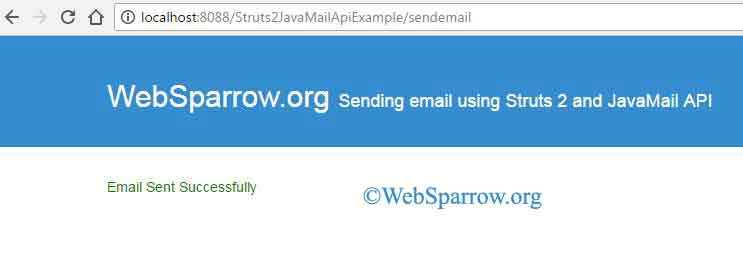 Sending email using Struts 2 and JavaMail API