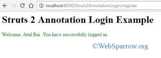 Struts 2 Annotation Login Example