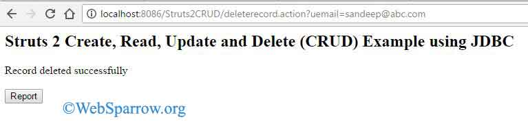 Struts 2 Create, Read, Update and Delete (CRUD) Example using JDBC