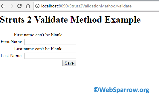 Struts 2 Validation Example using Validate Method and XML File