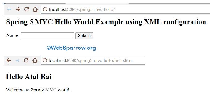 Spring 5 MVC Hello World using XML configuration