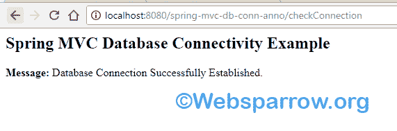 Spring MVC Database Connectivity Example using Annotation and Java Based Configuration